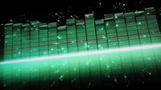 Muziek equalizer-balk. audio golfvorm equalizer op zwarte schermachtergrond. muziek of geluidsgolf op monitor. kleurrijke geluid visualizer abstract. gradiënt spectrum muziek grafiek. digitale grafiek glow in dark.