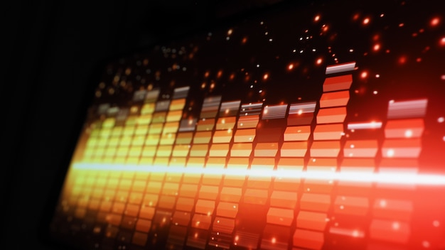 Muziek equalizer-balk. audio golfvorm equalizer op zwarte schermachtergrond. muziek of geluidsgolf op monitor.