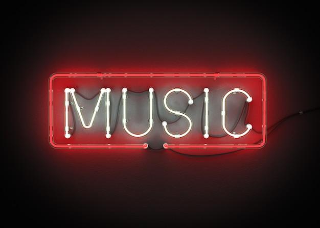 Muziek gemaakt van neon alfabet 3d-rendering