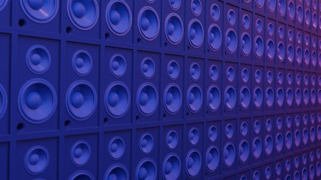 Muziek kunst concept luidsprekersysteem. podium donker licht cyber lichtblauw en roze, werkruimte of achtergrondkunst. 3d-weergave.