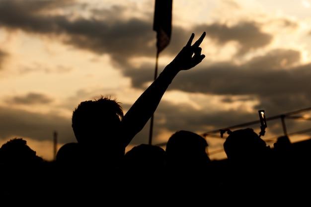 Muziekfan genieten van openluchtmuziekfestival, opgeheven hand, zonsondergang