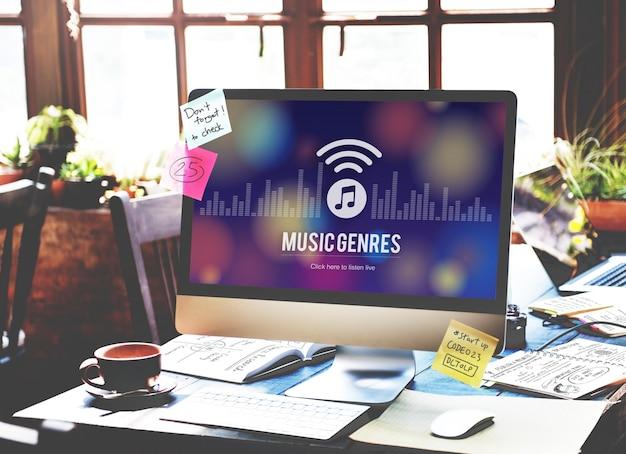 Muziekgenres stijl ontwerp elektronisch jazz rock concept