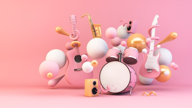 Muziekinstrument omgeven door geometrische vormen 3d-rendering