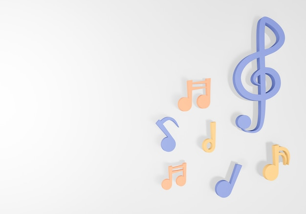 Muzieknota het 3d teruggeven op witte achtergrond.