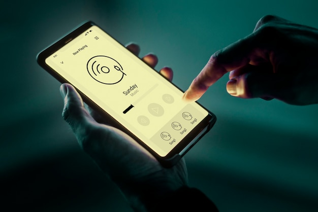 Muziekstreaming-app op een mobiele telefoon