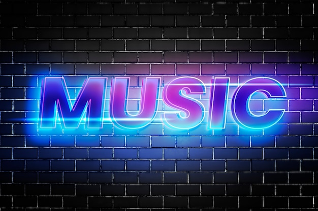 Muziektekst in 3d-gloedlettertype