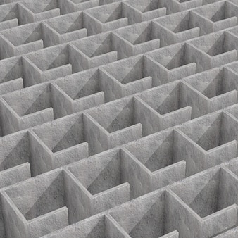 Mysterieuze oneindige betonnen doolhof labyrint structuur extreme close-up. 3d-rendering