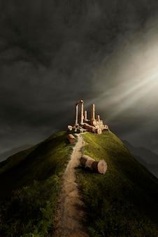 Mysterieuze scène met houtblokken op heuvel