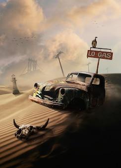 Mysterieuze scène met roestige auto in woestijn