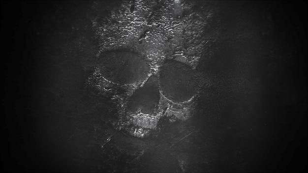 Mystieke horror achtergrond met de geesten en donkere schedel. fijne vakantie abstracte achtergrond. luxe en elegante stijl 3d-illustratie voor vakantiesjabloon