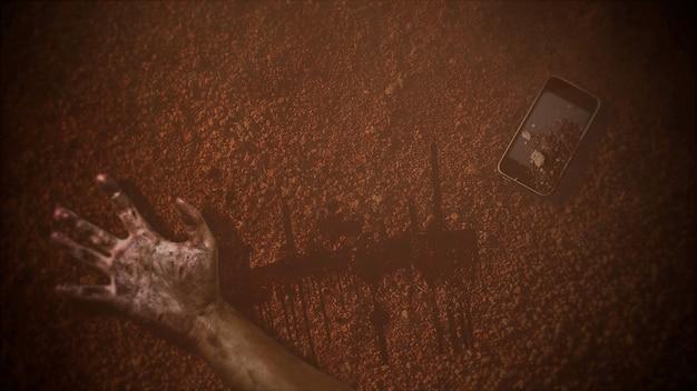 Mystieke horrorachtergrond met donker bloed, handen en telefoon. vakantie halloween abstracte achtergrond. luxe en elegante 3d-illustratie van halloween-thema