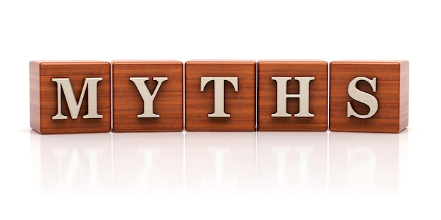 Mythen op houten kubussen geschreven