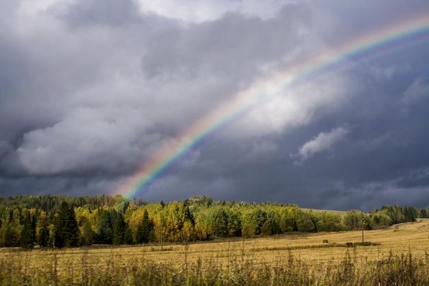 Na-onweersbuihemel en regenboog over de herfst bos en geel geoogst gebied.