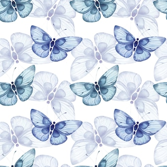 Naadloos aquarelpatroon met blauwe abstracte grote vlinders op een witte achtergrond