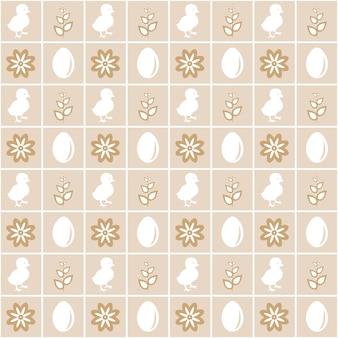 Naadloos eenvoudig patroon met eieren, schattige kleine kippen en bloemen. paasvakantie beige achtergrond voor afdrukken op stof, papier voor scrapbooking, cadeaupapier en behang. infantiele stijl, vintage