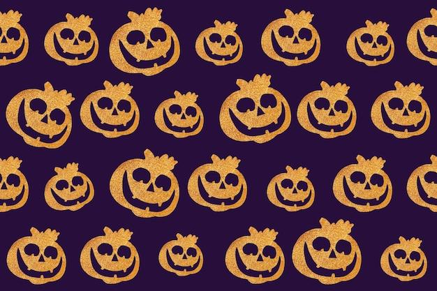 Naadloos halloween-patroon. pompoengezicht op een donkerpaarse achtergrond.