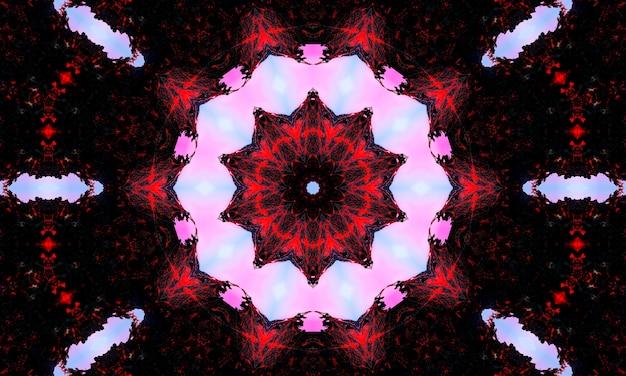 Naadloos herhalend patroon met geometrische bloemenvormen in verschillende tinten lichtblauw op blauwe en zwarte achtergrond.