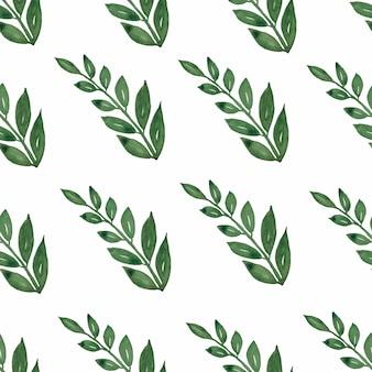 Naadloos patroon, achtergrond, textuurdruk met de lichte bladeren van de waterverfhand getrokken groene kleur