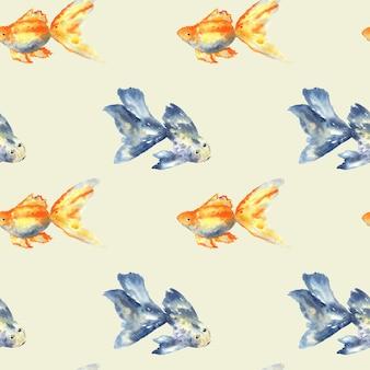 Naadloos patroon met blauwe vis met grote vin en goudvissen