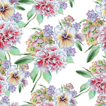 Naadloos patroon met bloemen. viooltjes. anjer. hortensia. aquarel illustratie. hand getekend.
