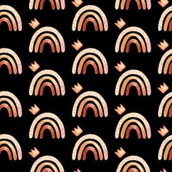 Naadloos patroon met boho regenboog in neutrale kleur. aquarel handgetekende illustratie, digitaal papier op zwarte achtergrond