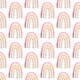 Naadloos patroon met boho regenboog met ster in neutrale kleur aquarel hand getekende illustratie digitaal papier