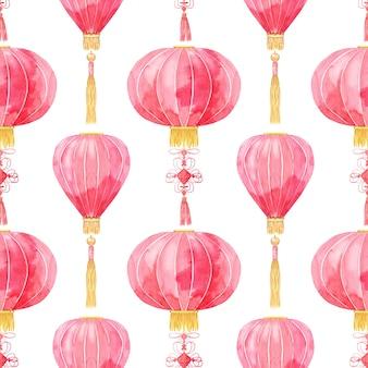 Naadloos patroon met chinese lantaarns