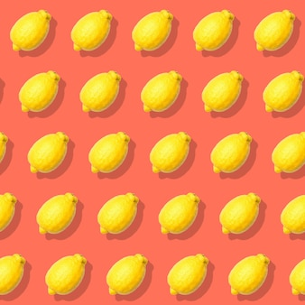 Naadloos patroon met citroen. rode abstracte achtergrond
