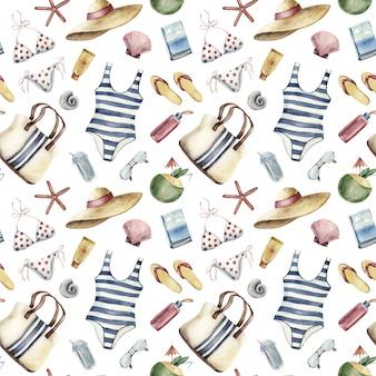Naadloos patroon met de kleding van de strandvakantie en dingen op witte achtergrond