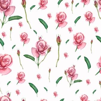 Naadloos patroon met de lentebloemen en bladeren