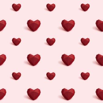 Naadloos patroon met donkerrood veelhoekig document hart op roze