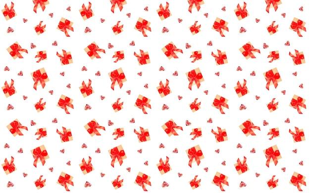 Naadloos patroon met geschenken en harten geïsoleerd op een witte achtergrond