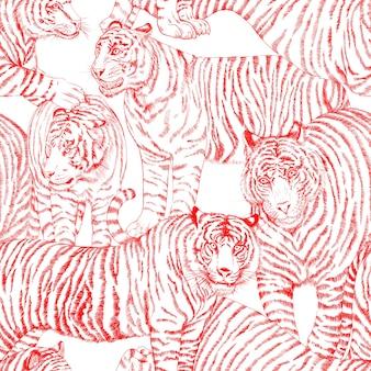 Naadloos patroon met geschilderd in gouache tijgers in vintage stijl