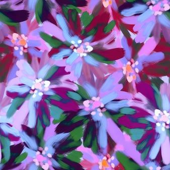 Naadloos patroon met geschilderde abstracte bloemen in impressionistische stijl met olietextuur in heldere kleurrijke paarse tinten. textuur voor print, stof, textiel, behang.