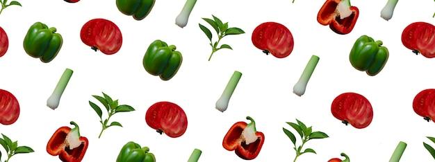 Naadloos patroon met groenten op witte achtergrond