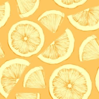 Naadloos patroon met handgetekende stukjes sinaasappel