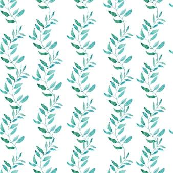 Naadloos patroon met olijf of groene theeblaadjes. aquarel illustratie.