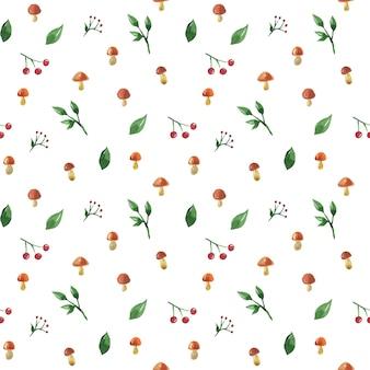 Naadloos patroon met paddestoelen, bessen en bladeren. hand getekend aquarel illustratie. textuur voor print, stof, textiel, behang.