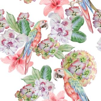 Naadloos patroon met papegaai en bloemen