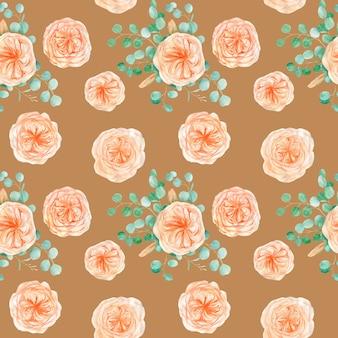 Naadloos patroon met perzik en sinaasappel met engelse roos austin bloem en eucalyptus