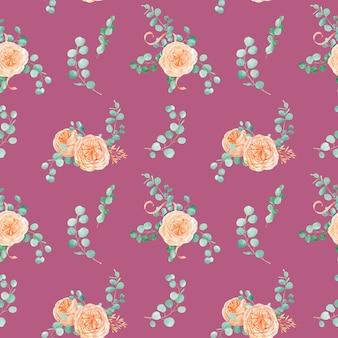Naadloos patroon met perzik engelse roos austin bloem en eucalyptus