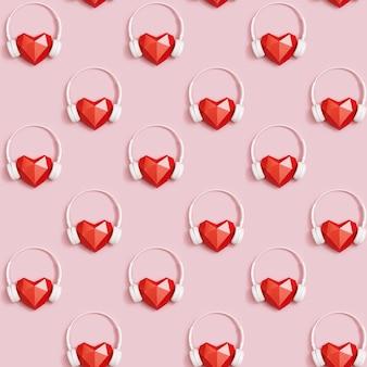 Naadloos patroon met rode veelhoekige papieren hartvorm in witte koptelefoon