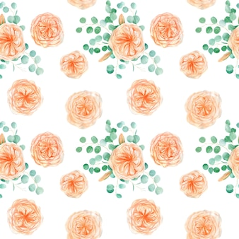 Naadloos patroon met roos en eucalyptus