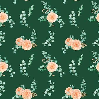 Naadloos patroon met rose austin flower en eucalyptus