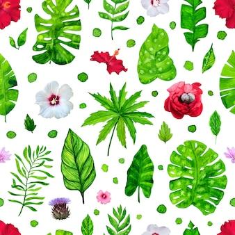 Naadloos patroon met tropische bladeren en bloemen