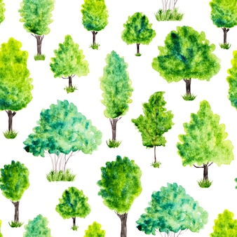 Naadloos patroon met waterverf groene bomen en gras. natuur achtergrond