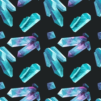 Naadloos patroon met waterverfkristallen