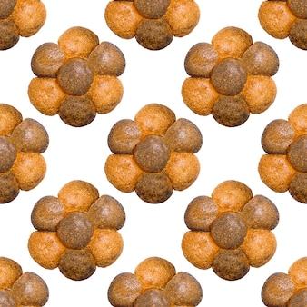 Naadloos patroon van brood dat op een witte achtergrond wordt geïsoleerd. hoge kwaliteit foto