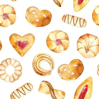 Naadloos patroon van gebakken gebakjes.