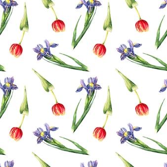 Naadloos patroon van handgeschilderde iris en tulpenbloemen